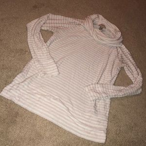pale pink & white cowl neck shirt